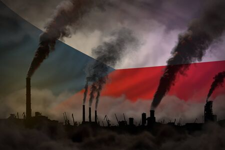 Dark pollution, fight against climate change concept - industrial chimneys heavy smoke on Czechia flag background - industrial 3D illustration