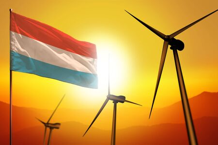 Luxembourg wind energy, alternative energy environment concept with turbines and flag on sunset - alternative renewable energy - industrial illustration, 3D illustration