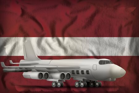 bomber on the Latvia flag background. 3d Illustration