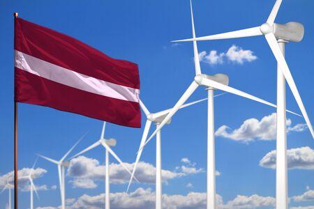 Latvia alternative energy, wind energy industrial concept with windmills and flag - alternative renewable energy industrial illustration, 3D illustration Stock Photo