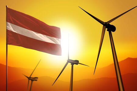 Latvia wind energy, alternative energy environment concept with turbines and flag on sunset - alternative renewable energy - industrial illustration, 3D illustration