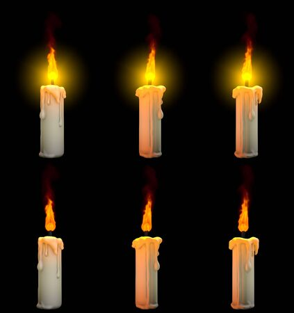 nice burning thin white paraffin candle isolated on black background with and without highlight - calm concept, 3D illustration of object