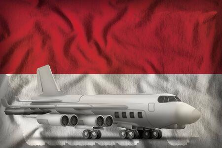bomber on the Monaco flag background. 3d Illustration