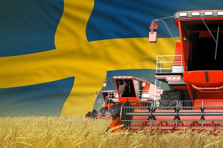 three red modern combine harvesters with Sweden flag on farm field - close view, farming concept - industrial 3D illustration