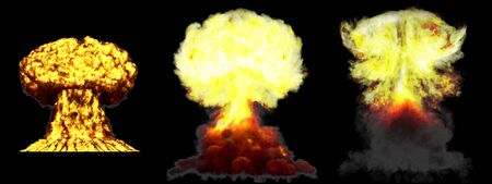 3 large high detailed different phases mushroom cloud explosion of fusion bomb with smoke and fire isolated on black - 3D illustration of explosion