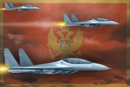 Montenegro air strike concept. Modern war airplanes attack on Montenegro flag background. 3d Illustration Фото со стока