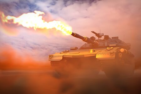 Military 3D Illustration of modern tank with not existing design attacking fire in desert, detailed honour concept Imagens