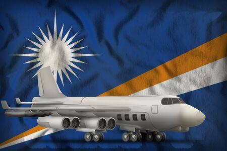 bomber on the Marshall Islands flag background. 3d Illustration