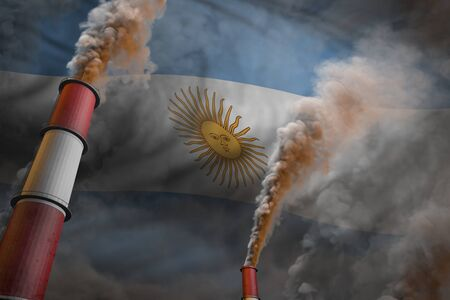 Argentina pollution fight concept - two large industrial chimneys with dense smoke on flag background, industrial 3D illustration Stock Photo