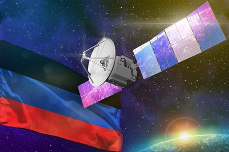 Satellite with Donetsk Peoples Republic flag, space communications technology concept - 3D Illustration