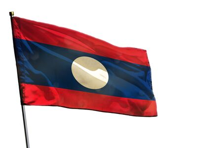Fluttering Lao People Democratic Republic flag isolated on white background.