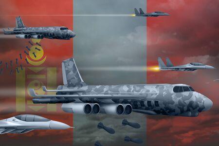 Mongolia bomb air strike concept. Modern Mongolia war airplanes bombing on flag background. 3d Illustration Фото со стока