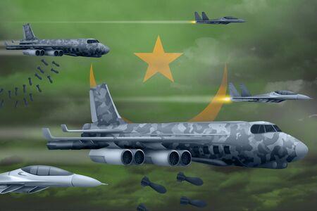 Mauritania bomb air strike concept. Modern Mauritania war airplanes bombing on flag background. 3d Illustration Фото со стока
