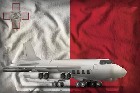 bomber on the Malta flag background. 3d Illustration