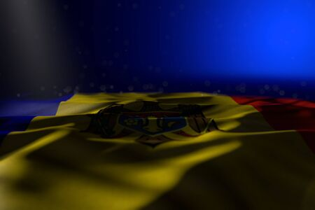 pretty feast flag 3d illustration - dark picture of Moldova flag lying on blue background with bokeh and empty place for your content