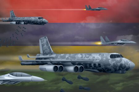 Mauritius bomb air strike concept. Modern Mauritius war airplanes bombing on flag background. 3d Illustration