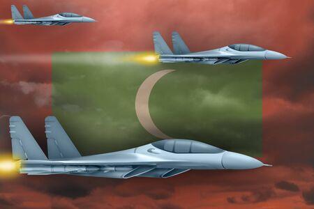 Maldives air strike concept. Modern war airplanes attack on Maldives flag background. 3d Illustration