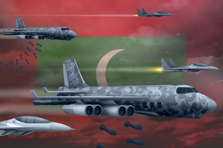 Maldives bomb air strike concept. Modern Maldives war airplanes bombing on flag background. 3d Illustration