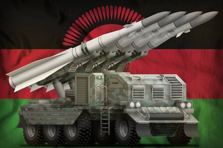 tactical short range ballistic missile with arctic camouflage on the Malawi flag background. 3d Illustration Imagens