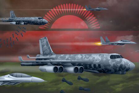 Malawi bomb air strike concept. Modern Malawi war airplanes bombing on flag background. 3d Illustration