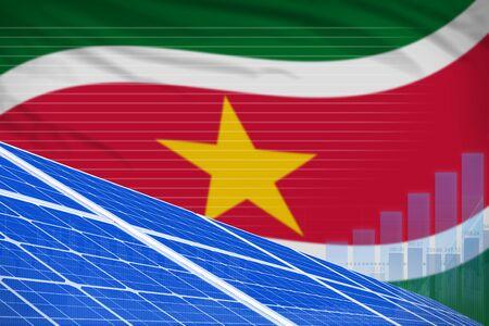 Suriname solar energy power digital graph concept  - environmental energy industrial illustration. 3D Illustration