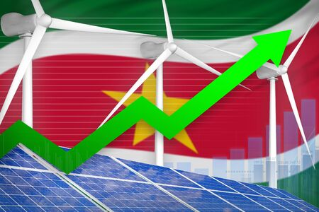 Suriname solar and wind energy rising chart, arrow up  - green energy industrial illustration. 3D Illustration Banque d'images