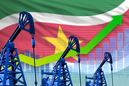 Suriname oil industry concept, industrial illustration - growing graph on Suriname flag background. 3D Illustration Banque d'images