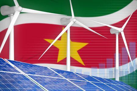 Suriname solar and wind energy digital graph concept  - environmental energy industrial illustration. 3D Illustration