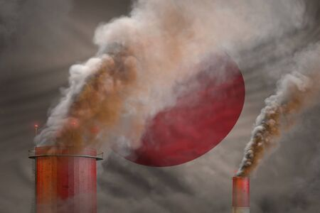 Global warming concept - heavy smoke from industry chimneys on Japan flag background with place for your logo - industrial 3D illustration Фото со стока