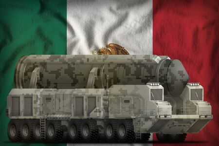intercontinental ballistic missile with city camouflage on the Mexico flag background. 3d Illustration