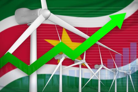 Suriname wind energy power rising chart, arrow up  - renewable energy industrial illustration. 3D Illustration Фото со стока