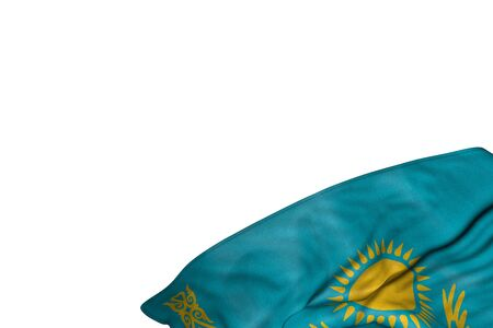 cute Kazakhstan flag with large folds lie in bottom right corner isolated on white - any feast flag 3d illustration