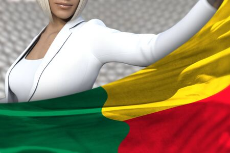 pretty business woman is holding Benin flag in front of her on the  modern architecture background - flag concept 3d illustration Banco de Imagens