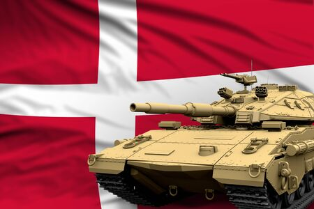 Heavy tank with fictional design on Denmark flag background - modern tank army forces concept, military 3D Illustration