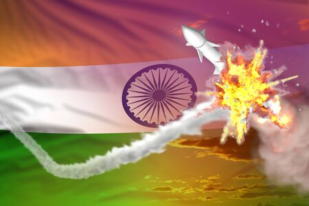 India intercepted nuclear missile, modern antirocket destroys enemy missile concept, military industrial 3D illustration with flag