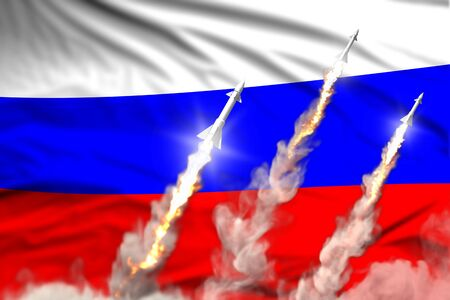 Russia nuclear missile launch - modern strategic nuclear rocket weapons concept on flag fabric background, military industrial 3D illustration with flag