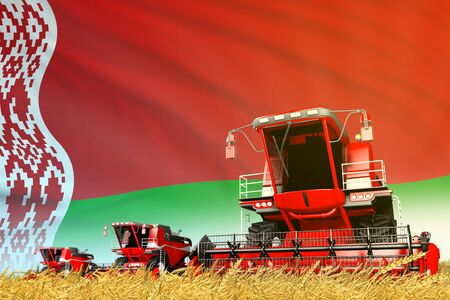 industrial 3D illustration of red farm agricultural combine harvester on field with Belarus flag background, food industry concept Banco de Imagens