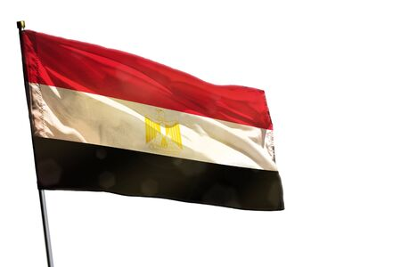 Fluttering Egypt flag isolated on white background.