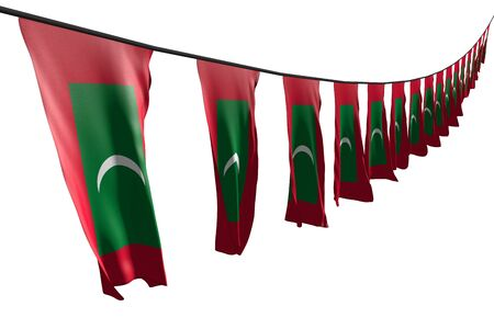 pretty many Maldives flags or banners hanging diagonal with perspective view on string isolated on white - any celebration flag 3d illustration Banco de Imagens