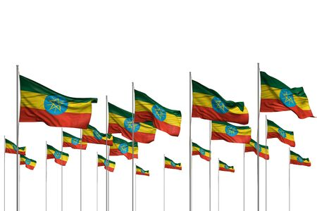 cute many Ethiopia flags in a row isolated on white with empty place for content - any celebration flag 3d illustration