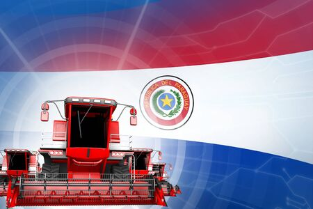 Farm machinery modernisation concept, red modern wheat combine harvesters on Paraguay flag - digital industrial 3D illustration Banco de Imagens