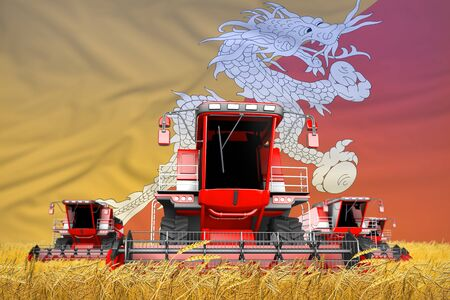 four bright red combine harvesters on wheat field with flag background, Bhutan agriculture concept - industrial 3D illustration Banco de Imagens