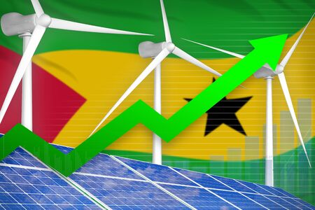 Sao Tome and Principe solar and wind energy rising chart, arrow up  - modern energy industrial illustration. 3D Illustration