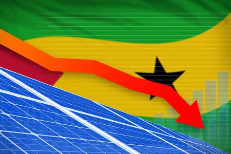 Sao Tome and Principe solar energy power lowering chart, arrow down  - alternative energy industrial illustration. 3D Illustration