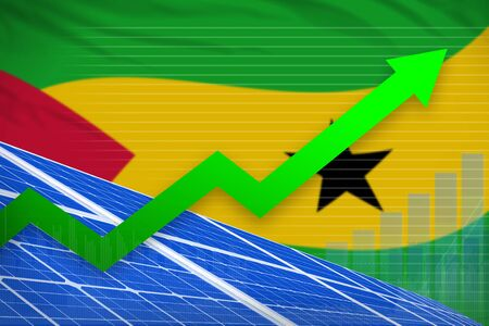 Sao Tome and Principe solar energy power rising chart, arrow up  - alternative energy industrial illustration. 3D Illustration Banco de Imagens