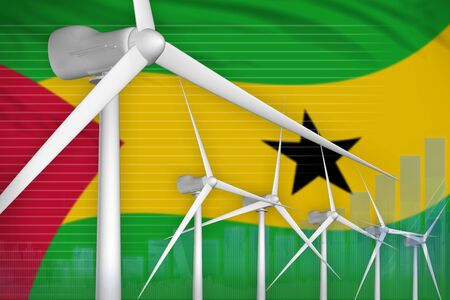 Sao Tome and Principe wind energy power digital graph concept  - alternative energy industrial illustration. 3D Illustration