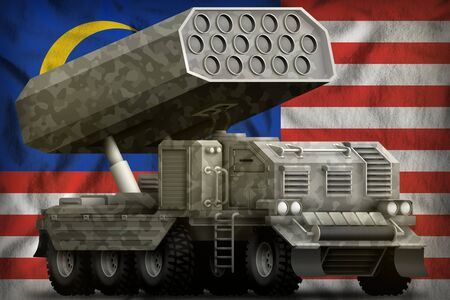 rocket artillery, missile launcher with grey camouflage on the Malaysia flag background. 3d Illustration