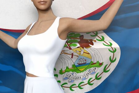 sexy girl is holding Belize flag in her hands behind her on the white background - flag concept 3d illustration Banco de Imagens