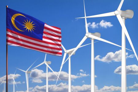 Malaysia alternative energy, wind energy industrial concept with windmills and flag - alternative renewable energy industrial illustration, 3D illustration