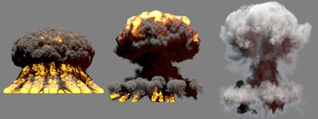 3 big different phases fire mushroom cloud explosion of super bomb with smoke and flames isolated on grey background - 3D illustration of explosion